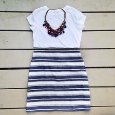 Ann Taylor loft skirt Navy Striped linen skirt. Reasonable offers always considered! Ann Taylor Skirts Mini