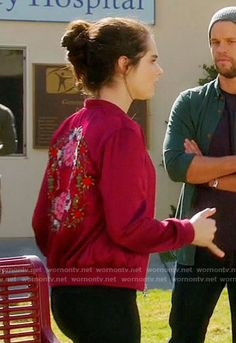 #BayKennish's red bomber jacket with floral embroidered back on Switched at Birth.  Outfit Details: https://wornontv.net/65187/ #SwitchedatBirth