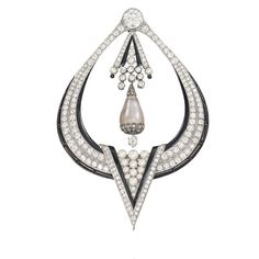 Art Deco diamond, pearl and onyx brooch, c1925.