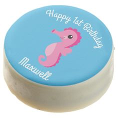 Under the Sea Horse Birthday Oreo CookiesA selection of products for the home with a seaside theme. Horse Birthday, Turtle Birthday, Animal Birthday, Birthday Plate, Birthday Cookies, Happy 1st Birthdays, First Birthday Parties, Horse Baby Showers, Ocean Aquarium