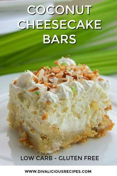 This coconut cheesecake is for coconut lovers, as well as cheesecake fans. The l… This coconut cheesecake is for coconut lovers, as well as cheesecake fans. The low carb cheesecake is so light and fluffy that you will find it hard to eat only one piece. Coconut Cheesecake, Low Carb Cheesecake, Cheesecake Bars, Cheesecake Recipes, Dessert Recipes, Cookie Recipes, Cheesecake Frosting, Coconut Bars, Dessert Food