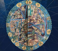 """Medieval maps are often oriented with east at the top, towards the rising sun. It is cardinal orientation by analogy with Christ, the true sun and the true light. The East and Eden are placed on top.  From the 7th century, the spiritual significance of these is reinforced by the centrality of Jerusalem, """"navel of the Earth."""""""