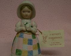 HOLLY HOBBIE BELL Collectors Figural Bell A Mothers Rememberance 1970s