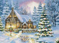 Cottage Christmas, Christmas Night, Christmas Scenes, Christmas Villages, Noel Christmas, Retro Christmas, Christmas Drawing, Christmas Paintings, Beautiful Christmas Cards