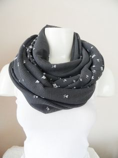 grey scarf infinity scarf flowers cotton scarf by theflowerdesign, $27.00