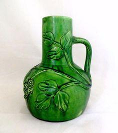 Arts & Crafts Belgium Art Pottery Majolica Relief Brambles Berries Pitcher 1890s #ArtsCraftsMissionStyle #Pitcher