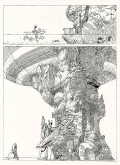 """A page from Moebius' """"The Airtight Garage"""". It was a schoolwork. We had to copy the original work to practice with nib (is it called nib? I don't comple. Jean Giraud, Comic Book Artists, Comic Artist, Comic Books Art, Frank Margerin, Moebius Artist, Moebius Comics, Sci Fi Comics, Funny Drawings"""