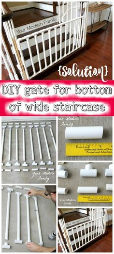 {Solution} DIY Gate for Bottom of Wide Staircase - 30 Best DIY Baby Gate Tutorials on Cheap Budget | DIY & Crafts