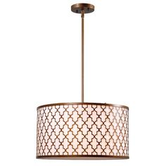 "Features:  -Off-white fabric shade.  -Antique gold finish.  -Tripoli collection.  -Comes with 3-12"" extensions rods, and 1-6"" extension rod..  -Comes with 4 extension rods .  Fixture Type: -Drum penda"