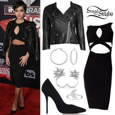 Isabela Moner attended the 2017 iHeart Radio Music Awards at The Forum wearing a Dance and Marvel Long Sleeve Cutout Dress ($25.97), a Rebecca Minkoff Wes Moto Leather and Neoprene Jacket ($498.00),  Somerset Medium Hoop Pierced Earrings ($89.00), a Field Moon Ring ($69.00) and an Atelier Swarovski Core Collection Kalix Open Ring ($299.00) all by Swarovski, with Kurt Geiger Ellen Suede Pumps ($158.00).