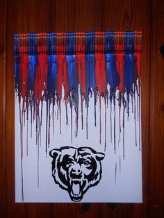 Da Bears Melted Crayon Painting by OnceUponACrayon on Etsy, $45.00