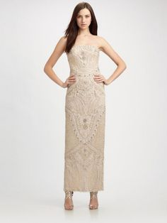 Sue Wong Nocturne Strapless Beaded Column Gown Size 4 $498 FTC #4947
