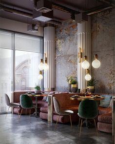 diy interieur WANDERLUSTING: contemporary restaurant design, so pink amp; Restaurant Design, Chaise Restaurant, Deco Restaurant, Luxury Restaurant, Restaurant Lighting, Restaurant Ideas, Classic Restaurant, Industrial Restaurant, Restaurant Kitchen