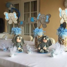 Elephant theme baby shower centerpieces