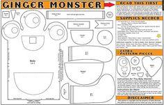 Ginger Monster Doll Pattern  Help get a veteran teacher to grad school in Finland - buy her art! https://www.etsy.com/listing/171665351/easy-peasy-doll-pattern?