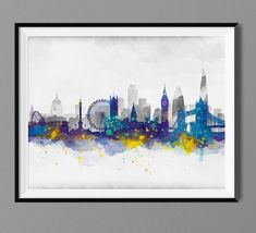 Items similar to London Skyline - Watercolor Art Print Poster - Housewarming, Home Decor, Wall Hanging, London Art on Etsy London Poster, London Art, Skyline Painting, London Skyline, Cartoon Drawings, Etsy, Print Poster, Watercolor Paintings, Silhouette