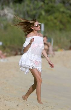 Olivia Palermo on the beach in St Barts