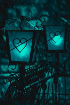 Heart lamps and snow!
