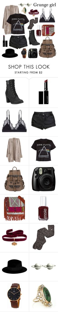 """Grunge girl"" by ventablack ❤ liked on Polyvore featuring Timberland, Witchery, LoveStories, New Look, Wilsons Leather, Fujifilm, Vintage Addiction, Essie, Diego Percossi Papi and UGG"