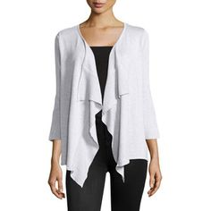 Neiman Marcus Ruffle-Front Ribbed Cardigan