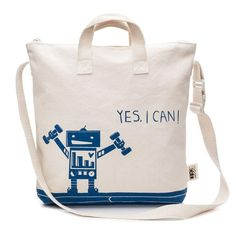 "The ""Mighty"" tote is perfect for the kid who approaches every adventure with an open heart and can-do attitude! Plus, it features an adorable robot, which we know your little ones will just love. All our cottons bags are soft, lightweight and foldable for maximum comfort."