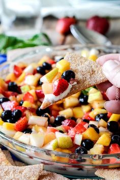 Rainbow Fruit Salsa Cheesecake Dip | http://www.carlsbadcravings.com/rainbow-fruit-salsa-cheesecake-dip-recipe/