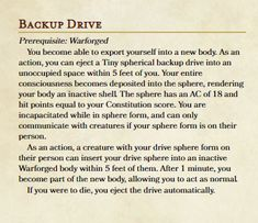 Dungeons And Dragons Game, Dungeons And Dragons Homebrew, Warforged Dnd, Dnd Feats, Character Sheet, Character Ideas, Dnd Races, Dnd Classes, Dungeon Master's Guide