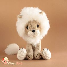 Meet Snowy the white lion plush! This stuffed lion was made in crochet and is ready to ship! This amigurumi lion pattern is designed by ChiquiPork. SIZE This cute lion toy is approximately: - 25cm in length (when seated) - 35cm (from head to toe) Please take care giving this lion