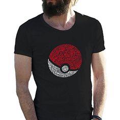 Poke Ball Pokemon Go Wordy Negro Camiseta para hombre en grandes tamaños 5X Large #regalo #arte #geek #camiseta
