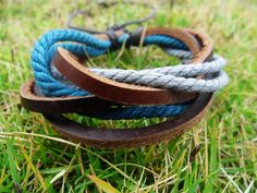 Adjustable  Leather and Cotton Ropes Woven Cuff by accessory365, $3.00