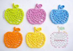 Aplique de manzanas tejidas a crochet... paso a paso con video tutorial