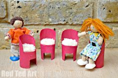 DIY Doll's House Chairs - super easy  to make from our favourite craft material the TP ROLL!!! Upcycle this humble house hold item and make adorable Doll's House furniture