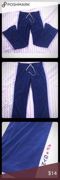 Abercrombie & Fitch Gym Issue Sweatpants Abercrombie and Fitch Gym Issue edition sweatpants/trackpants. This pants are navy blue with white stripes down the legs and the AF gym logo on the ankle of the left leg. !00% Nylon material with an elastic waistband drawstring. Size women's small, can be adjusted though with the waistband. In gently used condition with no stains or rips, just some normal wash wear.  Measurements- Waist(flat): 14 in. - a little over 15 in. with stretch Hips: 17 in…