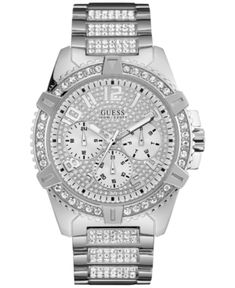 Watches: Shining crystals highlight the gleaming gold-tone stainless steel of this show-stopping watch from GUESS. So versatile and stylish, she'll want one too. Big Watches, Sport Watches, Cool Watches, Guess Watches, Rolex Watches, Vintage Watches For Men, Luxury Watches For Men, Mens Gold Watches, Gold And Silver Watch