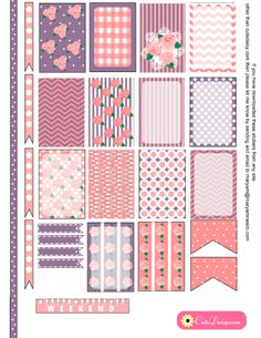 FREE Printable Shabby Chic Stickers in Pink and Lilac for Happy Planner and ECLP [ in 6 Colors ]