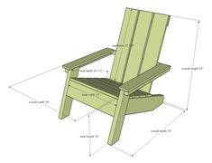 Modern Adirondack Chair This modern style Adirondack chair plan features clean lines and simple materials. The base is sturdy and substantial so it will hold heavy weights and won't blow away in the wind. You'll love our step by step plans and diagrams. Adirondack Furniture, Outdoor Furniture Plans, Funky Furniture, Modern Adirondack Chairs, Furniture Design, Adirondack Chair Plans Free, Plywood Furniture, Chair Design, Design Design