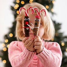 Candy Cane Reindeer Ornaments  #Christmas #Craft Ideas for #Kids