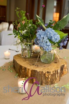Rustic Table Centerpieces for vintage/rustic wedding
