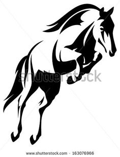 Beautiful jumping horse black and white vector outline by Cattallina, via Shutterstock
