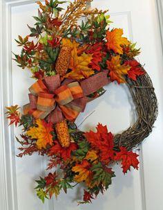 Grapevine Fall Wreath, Grapevine Fall Leaf, Fall Wreath, Corn Wreath, Orange Wreath, Red Wreath, Autumn Grapevine Wreath, Fall Leaf Wreath by MadewithmyheartbyHWM on Etsy