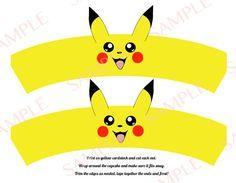 Pokemon Go Pikachu cupcake wrapper, birthday, cake, wrap, instant download