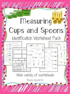 Measuring Cups and Spoons Identification Worksheets - Special Education, worksheets for identifying basic measuring tools needed for cooking - measuring cups and spoons! Life Skills Class, Teaching Life Skills, Culinary Classes, Culinary Arts, Cooking Classes, Cooking Games, Cooking Tools, Cooking Kits For Kids, Cooking In The Classroom
