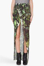 HELMUT LANG Green Cicada Print Skirt