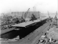 USS Kearsarge (CV-33) at the New York Naval Shipyard, Naval Base Station, Brooklyn, N.Y., 27 March 1946.