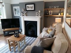 My living room. Farrow And Ball Living Room, Grey Walls Living Room, Coastal Living Rooms, Living Room Paint, Living Room Grey, Home Living Room, Interior Design Living Room, Living Room Designs, Living Room Decor