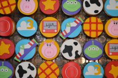 12 Toy Story Cupcake Toppers-Fondant USD) by bakerslovebakery Toy Story Cupcakes, Toy Story Cookies, Toy Story Cake Toppers, Cupcake Toppers, Toy Story Theme, Toy Story Party, Toy Story Birthday, 4th Birthday Cakes, 3rd Birthday Parties