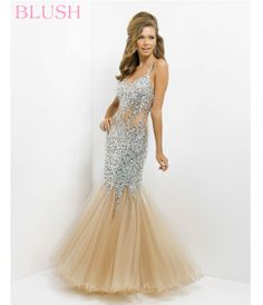 Nude Sequin Sexy Low Back Prom Dress #uniquevintage #prom