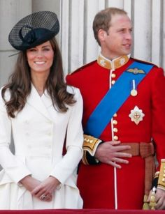 Kate standing out in black and white at Trooping the Colour, an annual British military ceremony.