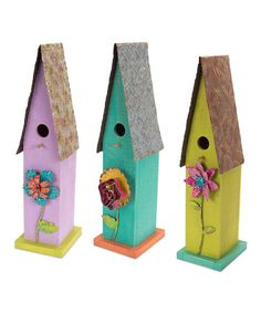 Love this Flower Birdhouse Set on #zulily! #zulilyfinds and easy-peasy to do!