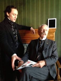 Tom Hiddleston on the set of Crimson Peak.